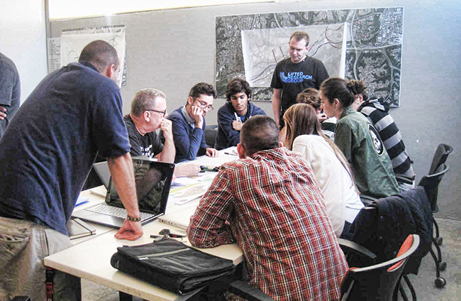 Students from the NewSchool of Architecture and Design collaborate on Mission Valley's future. (Courtesy Frank Wolden)