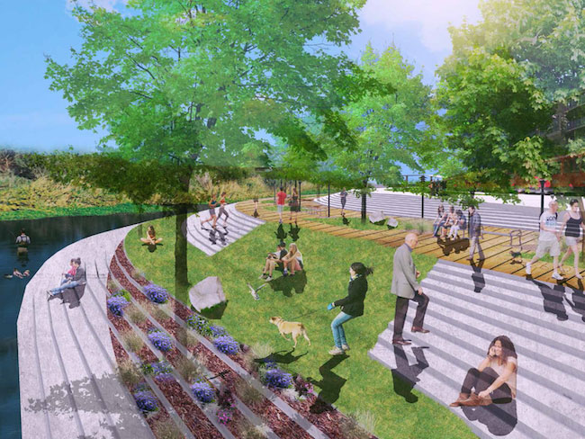 A NewSchool student rendering shows a park on the San Diego River. (Courtesy Frank Wolden)