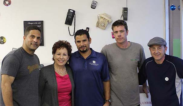 (l to r) Tito Garcia, Louise Batchelor, Fernando Vasques, Nick Olson and Dario Farisato of EnviroGreen Electronic Recycling Services (Photo by Jeremy Ogul)