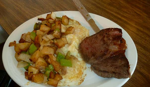 Steak and eggs with potatoes O'Brian  (Photo by Frank Sabatini Jr.)