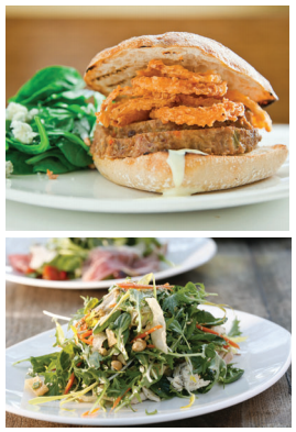 (top) meatloaf sandwich; (bottom) Chinese chicken salad (Courtesy Tender Greens)