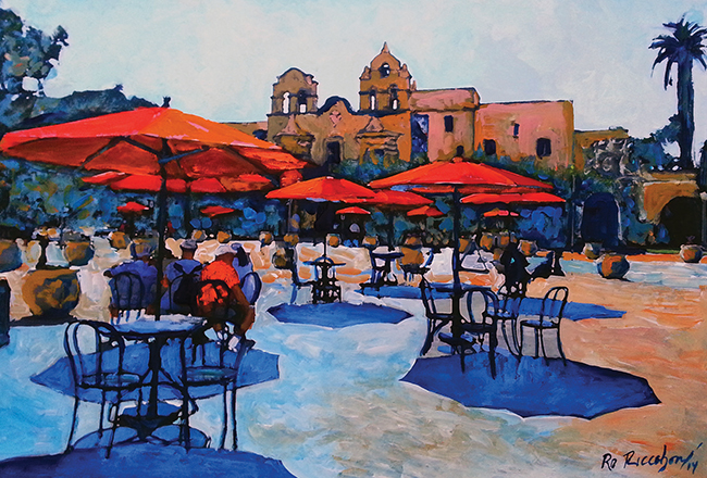 "A painting from ""The Art Traveler Guide: A Portrait of Balboa Park"", ""Relaxing in the Plaza Sun,"" acrylic on paper, 2014 (Courtesy SOHO/Artwork by RD Riccoboni)"