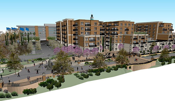 Rendering of the U-T project looking southwest from the San Diego River. (Courtesy of Perry Dealy)