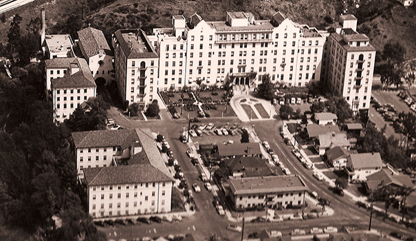 This vintage 1937 photo shows an aerial view of Mercy Hospital (Courtesy of Scripps Mercy)