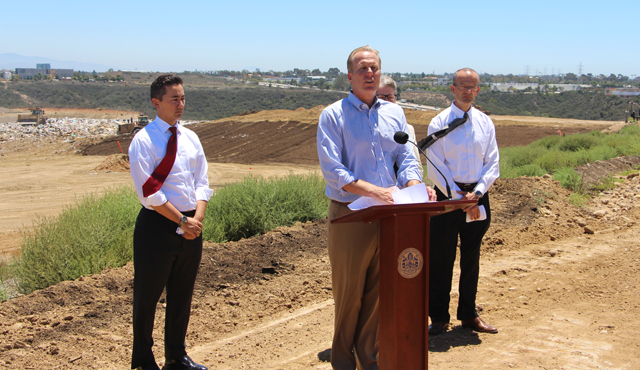 (l to r) Councilmember Chris Cate, Mayor Kevin Faulconer, Councilmember Sherri Lightner and Mario Sierra, the city's environmental services director, at the Miramar Landfill. (Courtesy of sandiego.gov)