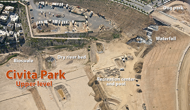 Aerial photo shows construction going on at Civita Park in Mission Valley. (Courtesy of Sudberry Properties)