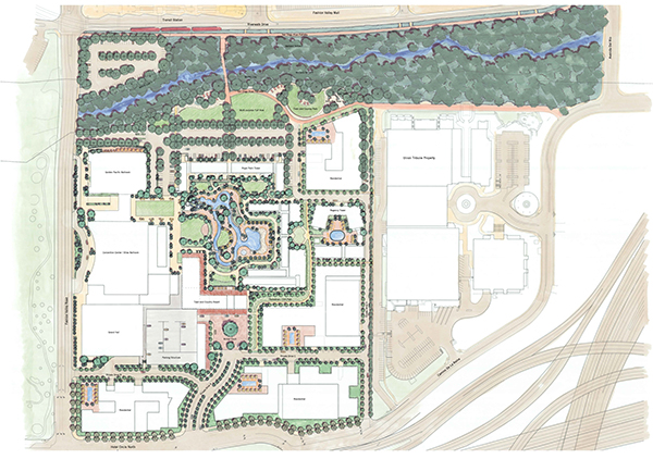An architectural rendering shows the major makeover plans for the Town and Country Resort & Convention Center. (Courtesy of Burton Landscape Architecture Studio)