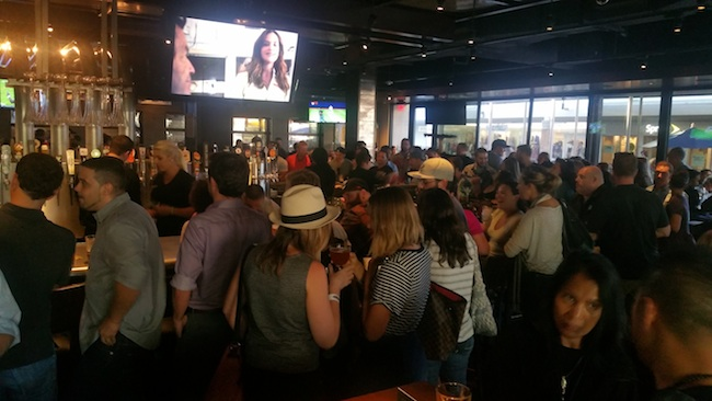 The busy interior of Yard House at Westfield's Mission Valley Mall (Photo by Ken Williams)