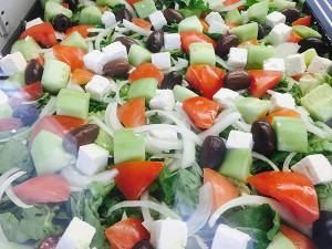 Tomato-feta salad with onions and olives (Photo by Frank Sabatini Jr.)