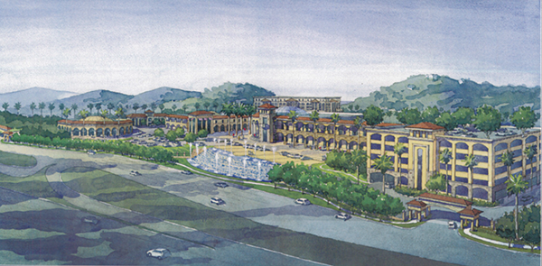 Artist's rendering of the proposed Morris Cerullo Legacy International Center at 875 Hotel Circle South, viewed from eastbound Interstate 8 (From document presented to Mission Valley Planning Group)