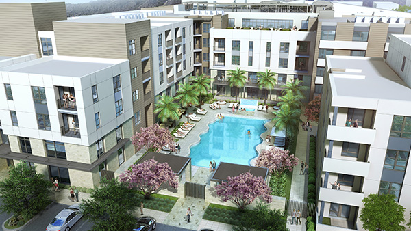 A large pool will be a focal point of the Millennium Mission Valley mixed-use project. (Artist rendering courtesy of TCA Architects)