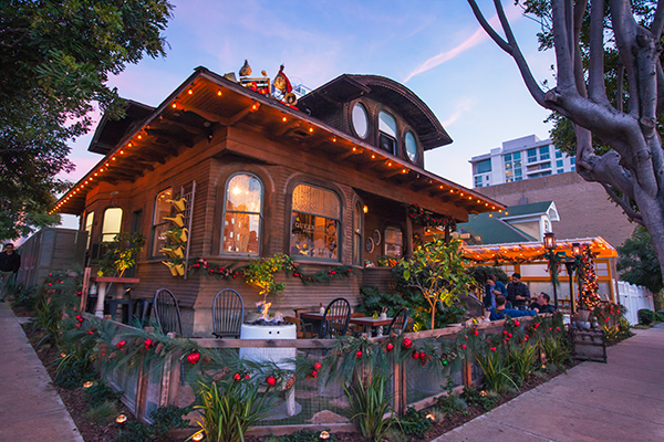 Queenstown Public House in Little Italy transforms into a gingerbread house for the holidays. (Courtesy of Olive PR Solutions)