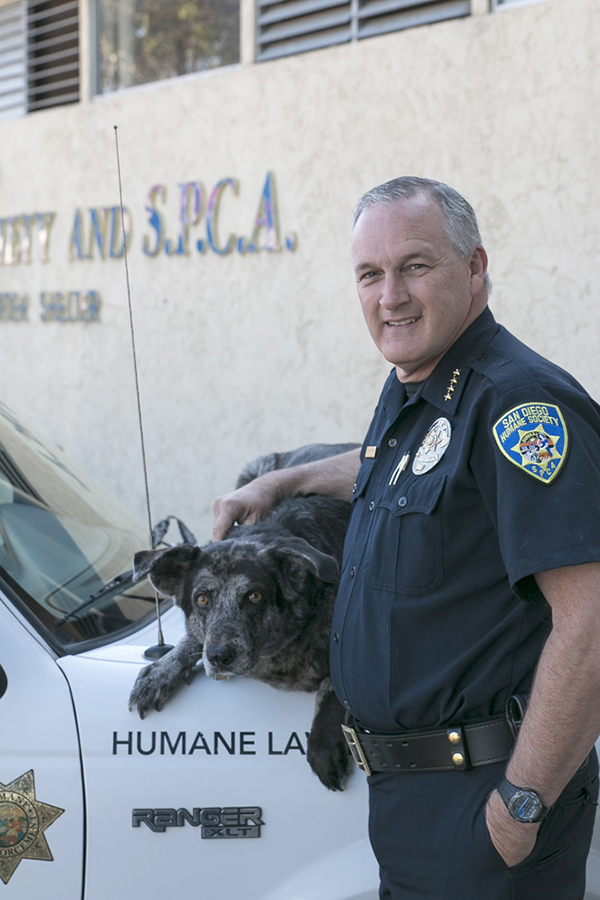 Chief Stephen MacKinnon cares for seven rescue dogs himself. (Courtesy of San Diego Humane Society)