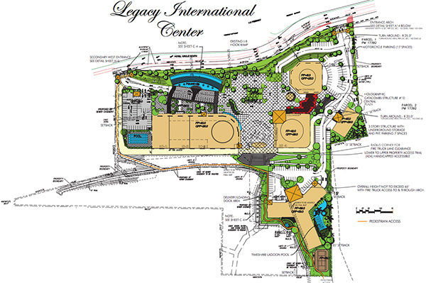 Architectural drawing of the proposed Morris Cerullo Legacy International Center at 875 Hotel Circle South, just off eastbound Interstate 8. At the far left is a five-story parking garage, followed by a building containing the Training Center. Top right is the Welcome Center, the underground catacombs (colored red), which leads to the History Dome. The time-share building is shown at the bottom right of the drawing. The ministry's offices and security team would be housed in the building at the far right. (From city documents)
