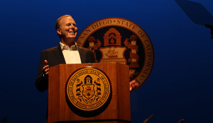 Mayor Kevin Faulconer practices his State of the City speech. (Courtesy of City of San Diego)