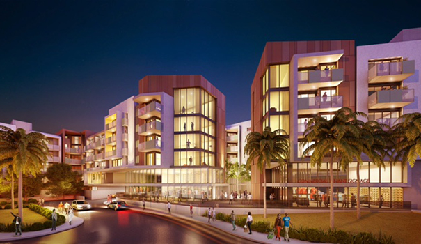 An artist rendering of Alexan Fashion Valley multi-use luxury apartment  complex, seen from