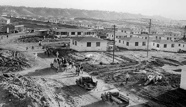 "In the 1940s, the federal government begins building 13,000 ""cracker box"" houses in Linda Vista, the largest single defense housing project in the U.S. at the time. (Facebook)"