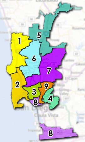 The locations of the nine City Council districts. (Courtesy of the city of San Diego)