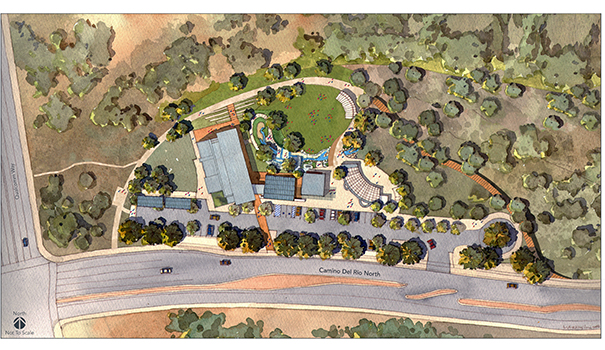 An aerial view of the proposed Discovery Center at Grant Park (Drawing courtesy of San Diego River Park Foundation)