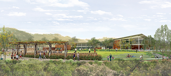 A drawing of the proposed buildings at the Discovery Center at Grant Park (Courtesy of San Diego River Park Foundation)
