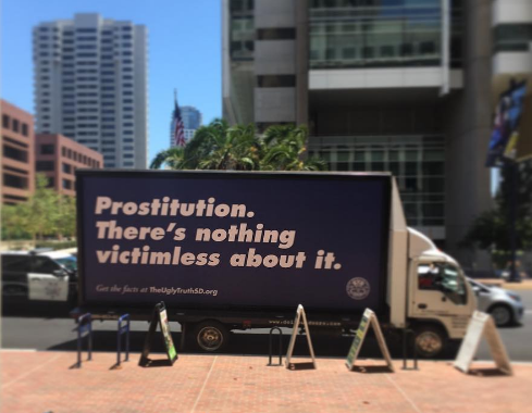 Billboards and even sides of trucks are used in the public ad campaign to make people aware of the issue of human trafficking. (Courtesy of TheUglyTruthSD.org)
