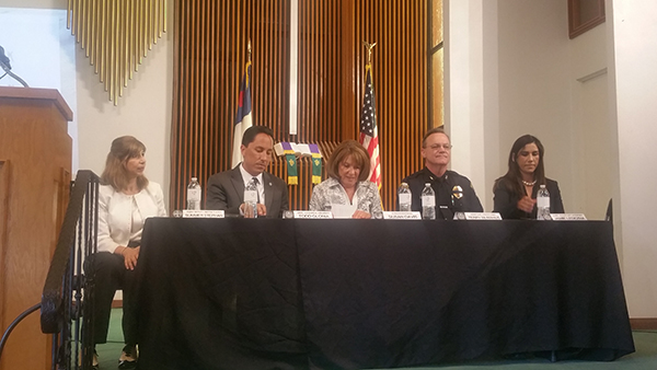 """(l to r) """"Human Traffi cking"""" panelists Summer Stephan, chief deputy district attorney; Councilmember Todd Gloria; U.S. Rep. Susan A. Davis; Terry McManus, assistant police chief; and Jamie Ledezma, chief deputy district attorney (Photo by Ken Williams)"""