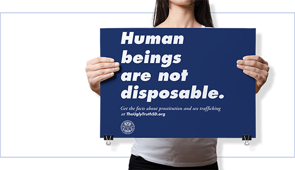 The public advertising campaign to stop human trafficking in San Diego highlights the human cost of prostitution. (Courtesy of TheUglyTrthSD.org)