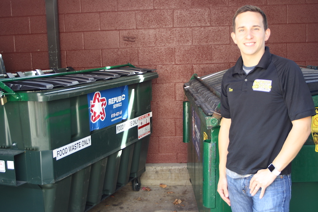 Which Wich employees carry food waste down an elevator to these special dumpsters, said manager Tim Stinson (pictured) (Photo by Jeff Clemetson)
