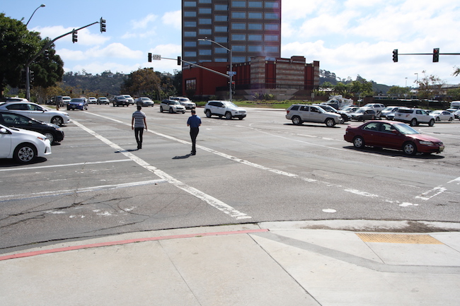 The intersection of Friars and Frazee roads has the most collisions and injuries in Mission Valley. (Photo by Jeff Clemetson)