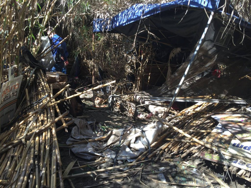 Homeless camps such as this one pictured here contribute to 95 percent of all trash along the river. (Facebook)
