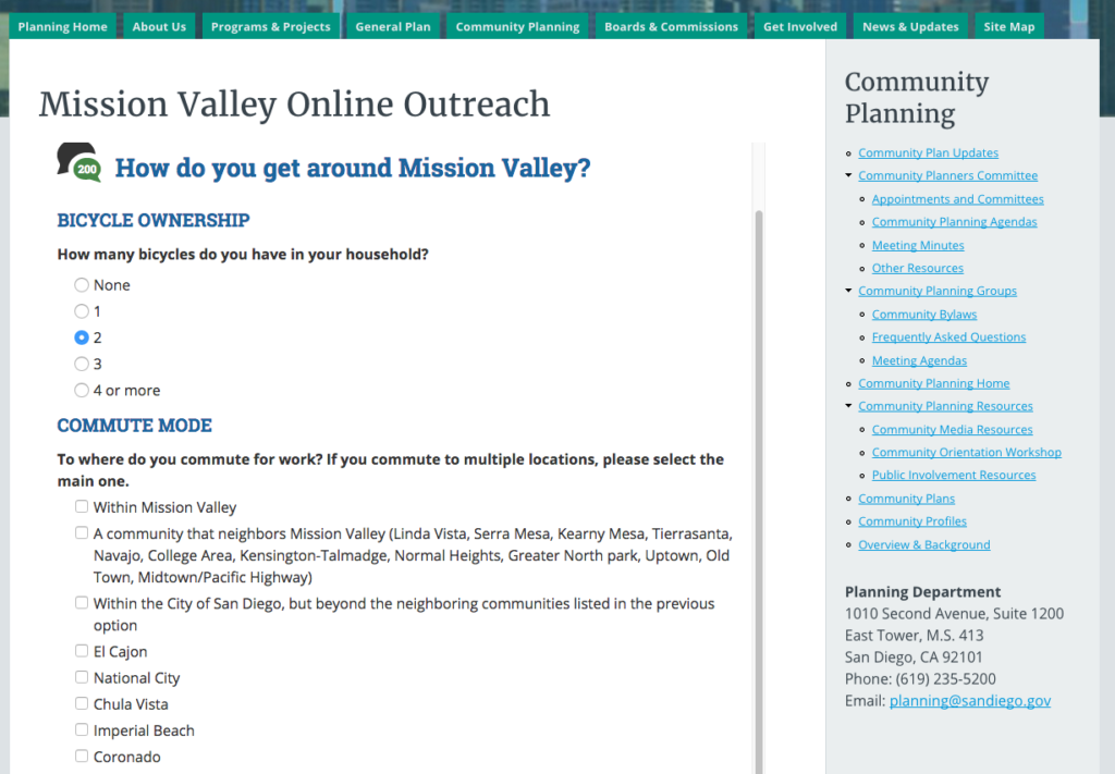 The city is asking residents to fill out this survey on how they commute to work and get around to help guide the new community plan update for Mission Valley. (sandiego.gov)